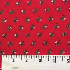 Fabric Cotton Green Holly Leaves White Berries Holiday Quilt Craft Print