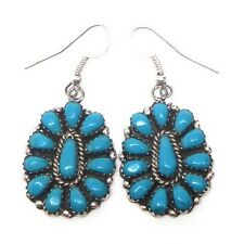 Navajo Sterling Silver Turquoise Cluster French Hook Earrings -L. Williams