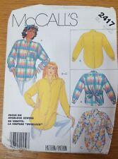 McCalls Pattern 2417 Vtg Button Down Shirt Sz Medium 14-16 Bust 34-38 Uncut