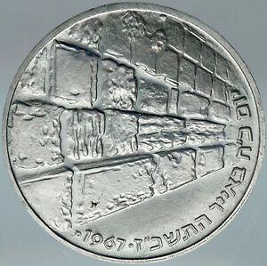 1967 ISRAEL IDF 6 Day War Wailing Wall OLD Jerusalem Silver 10 Lirot Coin i88011