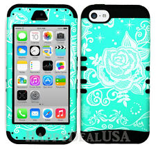 For Apple iPhone 5c KoolKase Hybrid Armor Silicone Cover Case - Flower Rose 35