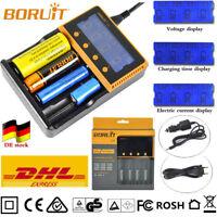 BORUiT C4 LCD AKKU-ladegerÄt for Ni-MH/Li-ion AAA 18650 26650 Headlamp Battery