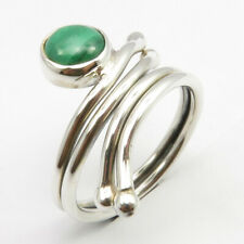 Natural Green Round Malachite Ring Size 7.5 4.3 Grams 925 Sterling Silver
