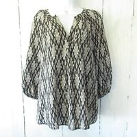 Joie Silk Popover Top S Small Black Gray Ikat Print 3/4 Sleeve