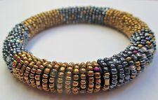 Original bracelet rigide bijou vintage perles torsadées bleues dorées
