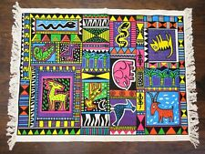 VTG Retro AFRICAN ART TAPESTRY / RUG by DEZIGN INC. Post Modern KEITH HARING ERA