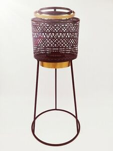 Metal Candle Holder Lantern Tripod Out Of Africa Black Lamp Stand Home Aztec New