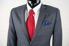 B SPOKE (36R) Mens Gray Blue Plaid Wool Hacking Sport Jacket Dual Vent