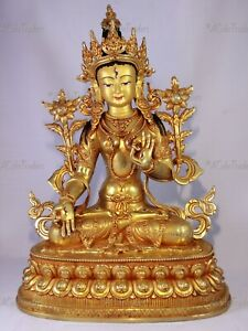 Nepalese Handcrafted 14inches 24K Gold Gilt White Tara