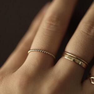 Thin Bead Ring, 10K 14k Gold Ball Ring, Dainty Ball Band, Minimalist Ring