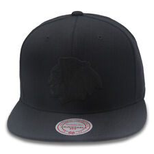 Mitchell & Ness Chicago Blackhawks NHL Snapback Hat Cap All Black/Grey Bottom