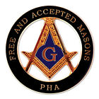 Prince Hall F&AM Round Masonic Auto Emblem - [Black & Gold][3'' Diameter]