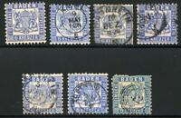 GERMANY STATES BADEN SCOTT# 22 MICHEL# 19 USED LOT OF 7 AS SHOWN