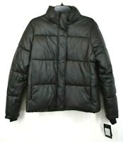 Marc New York Womens Black Front Zip Long Sleeve Faux-Leather Puffer Coat M