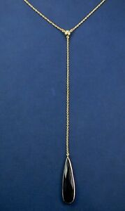 Natural Black Onyx Gold Plated Lariat Necklace 925 Sterling Silver MN3861