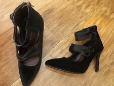 M&S BLACK VELVET FEEL COURT SHOES SIZE 3.5 EUR 36 LADIES BNWT  RP £35