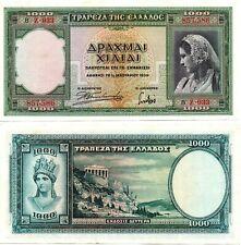 GREECE 1000 Drachmai (1.1.1939) Pick 110a, Extra Fine  *RARE*