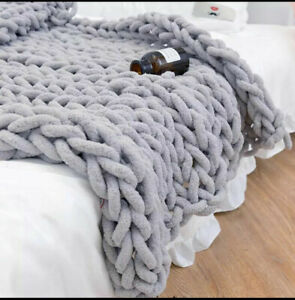 New Soft Chunky Knitted Thick Blanket Winter Warm Hand Yarn Bulky Throw Sofa Bed