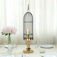 """27"""" tall Gold Black Metal Bird Cage Candle Holder Wedding Party Centerpiece"""