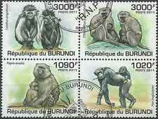 Timbres Animaux Singes Burundi 1245/8 o année 2011 lot 7321 - cote : 18 €