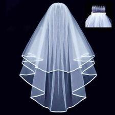 Bridal Veil Wedding Veil Edge with Comb To Be Fancy Dress Hen Wedding - White