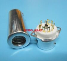 10pcs 70mm Golden 9pin Tube socket for El84 6P14 6Bq5 With Shield Base
