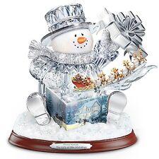 Thomas Kinkade Crystal Snowman Sculpture Music & Lights Christmas Statue NEW