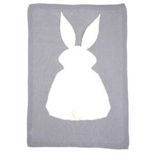 Infant Baby Knitting Wool Rabbit Bunny Blanket Crocheted Sofa Beach Quilt Rug