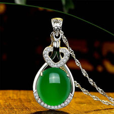 Retro Natural Emerald & Diamond Wedding Party Silver Pendant Green Gemstone