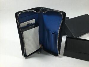 "ACME Studio ""P.A.D. Blue"" Genuine Leather Zip Wallet Pen Holder w/ Note Pad NEW"
