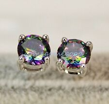 18K White Gold Filled -MYSTICAL Rainbow Round Topaz Noble Cocktail Earrings 01