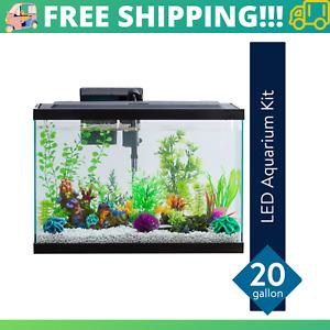 Fish Aquarium Starter Pack 20 Gallon LED Fish Tank Complete Aqua Kit Filter NEW