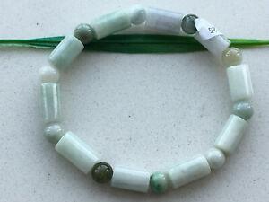 Certified 100% Natural Light green 8x13mm jade Cylindrical Elastic bracelet 1829