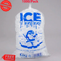 "1000 Case 8 lbs. Clear Plastic Ice Bag Machine Commercial Barcode Blue 8"" x 20"""