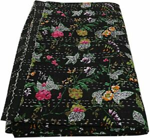 Indian Handmade Cotton Floral Print Black Kantha Quilt Coverlet 90x60 Inches