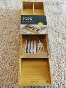 New Joseph Joseph Bamboo DrawerStore Compact Cutlery Organiser Tray 85168