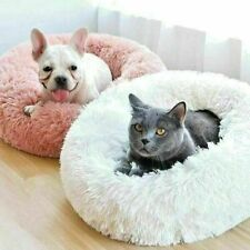 Luxury Soft Donut Dog Bed Plush Cat Mat warm Beds For Pets Calming Fur Bed