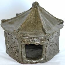 Brutalist Abstract Art Pottery Frog Toad House Incised Stoneware Green Garden