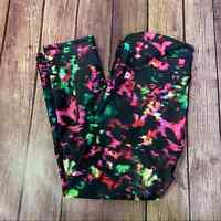 FABLETICS Black Multi-colored Cropped Leggings Capri Mid Rise Womens XS Pink