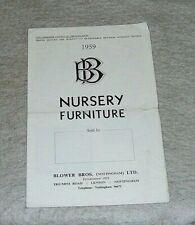 BLOWER BROS of Nottingham NURSERY FURNITURE CATALOGUE 1959