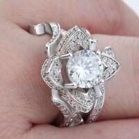 Mujer Anillos Lotus Flor Blanca Anillo Boda Compromiso joyería Ring