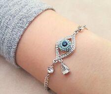SALE - Women's Fashion Evil Eye Pendant White Gold Plated Bracelet Bangle - GIFT