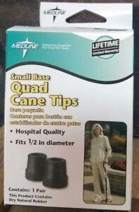 Medline Small Base Quad Cane Tips 1/2 inch - 1 pair (#14)