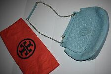 Tory Burch Marion Quilted Blue Gold Leather Chain Shoulder Bag Purse