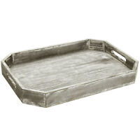 MyGift Country Rustic Wood Serving Tray with Cutout Handles and Angled Edges