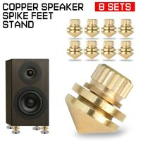 8 Set Copper Speaker Spike Feet Stand Base Shoes Pads Isolation Floor Hifi Cone