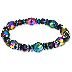 New Men Women Multicolour Crystal  Bangle Magnetic Bracelet Hematite Malachite
