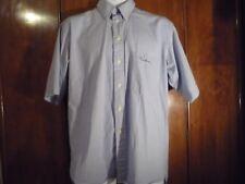 "men's shirt Thomas Burberry M 15 1/2"" collar blue checks short sleeves pocket"
