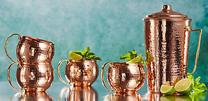 THICKEST Solid Hammered Copper Water Moscow Mule Pitcher Jug Mug Cup Set, 2200Gr