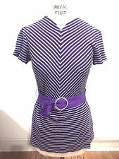 VTG 60s Sz 10 Micro Mini Dress Purple Silver Knit Striped Belted Excellent